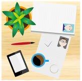 Scrittorio di legno con il mucchio di CVs, smartphone, caffè illustrazione di stock