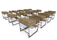 Scrittorio di legno d'annata della scuola Fotografia Stock Libera da Diritti