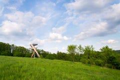 Scrittorio di osservazione sulla bella torre dell'allerta di Salas, Moravia, repubblica Ceca, Fotografia Stock
