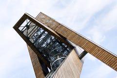 Scrittorio di osservazione sulla bella torre dell'allerta di Salas, Moravia, repubblica Ceca, Fotografia Stock Libera da Diritti