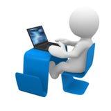 Scrittorio moderno con il computer portatile Immagini Stock