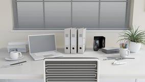 scrittorio moderno del lavoro d'ufficio 3D Fotografie Stock
