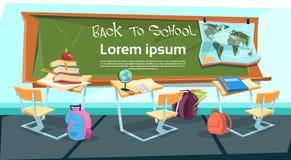 Scrittorio vuoto dell'aula con la borsa di libri di nuovo all'insegna di istruzione scolastica illustrazione vettoriale