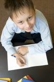 Scrittura adorabile del bambino. Fotografia Stock Libera da Diritti