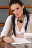 Scrittura attraente della donna di affari Immagine Stock
