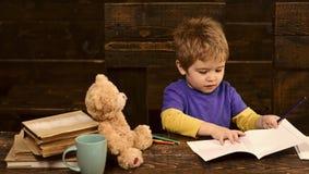 Scrittura concentrata del bambino nel quaderno Ragazzo prescolare che si siede allo scrittorio Apprendimento delle lettere nell'a Fotografie Stock Libere da Diritti