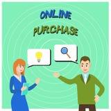 Scrittura concettuale della mano che mostra acquisto online Il testo della foto di affari acquista le merci di commercio elettron royalty illustrazione gratis