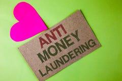 Scrittura concettuale della mano che mostra anti Monay Laundring Progetti entranti del testo della foto di affari per andare via  Immagine Stock