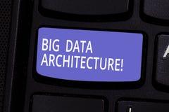 Scrittura concettuale della mano che mostra architettura di Big Data Testo della foto di affari destinato per trattare l'analisi  fotografia stock libera da diritti