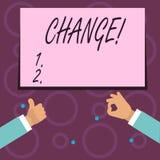 Scrittura concettuale della mano che mostra cambiamento Transizione di revisione di diversione di adeguamento di alterazione del  illustrazione vettoriale
