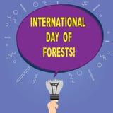 Scrittura concettuale della mano che mostra giorno internazionale delle foreste Foto di affari che montra protezione dell'ambient royalty illustrazione gratis