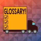 Scrittura concettuale della mano che mostra glossario Elenco del testo della foto di affari di termini alfabetico con vocabolario illustrazione vettoriale