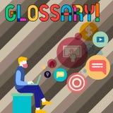 Scrittura concettuale della mano che mostra glossario Foto di affari che montra elenco di termini alfabetico con vocabolario di s royalty illustrazione gratis