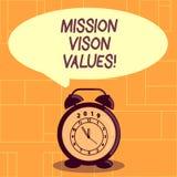 Scrittura concettuale della mano che mostra i valori di Vison di missione Foto di affari che montra pianificazione per la carrier illustrazione di stock