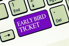 Scrittura concettuale della mano che mostra il biglietto in anticipo dell'uccello Testo della foto di affari che compra un biglie immagine stock