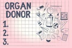 Scrittura concettuale della mano che mostra il donatore di organo Foto di affari che montra dimostrazione di A chi offre un organ illustrazione di stock