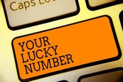 Scrittura concettuale della mano che mostra il vostro Lucky Number Testo della foto di affari che crede in bottone a del casinò d illustrazione vettoriale