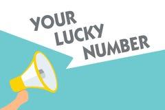 Scrittura concettuale della mano che mostra il vostro Lucky Number Testo della foto di affari che crede nel simbolo a del casinò  illustrazione di stock