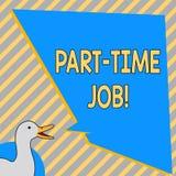 Scrittura concettuale della mano che mostra lavoro part-time Testo della foto di affari che lavora alcune ore per lavoro temporan illustrazione di stock