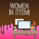 Scrittura concettuale della mano che mostra le donne nel gambo Foto di affari che montra matematica di ingegneria di tecnologia d royalty illustrazione gratis