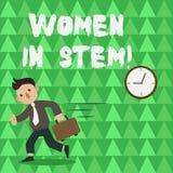Scrittura concettuale della mano che mostra le donne nel gambo Scienziato di matematica di ingegneria di tecnologia di scienza de royalty illustrazione gratis