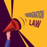 Scrittura concettuale della mano che mostra legge di immigrazione La foto di affari che montra l'emigrazione di un cittadino sarà illustrazione di stock