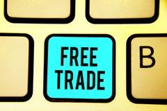 Scrittura concettuale della mano che mostra libero scambio Foto di affari che montra la capacità di comprare e vendere sui vostri fotografia stock libera da diritti
