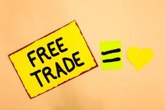 Scrittura concettuale della mano che mostra libero scambio Il testo della foto di affari la capacità di comprare e vendere alle v fotografia stock libera da diritti