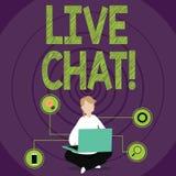Scrittura concettuale della mano che mostra Live Chat Conversazione del testo della foto di affari sulle multimedia di Internet m illustrazione vettoriale