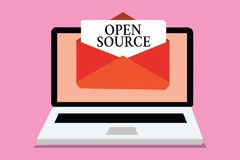 Scrittura concettuale della mano che mostra Open Source Foto di affari che montra denotando software che availab di codice sorgen illustrazione vettoriale