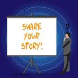 Scrittura concettuale della mano che mostra a parte la vostra storia Foto di affari che montra memoria di nostalgia di esperienza illustrazione di stock