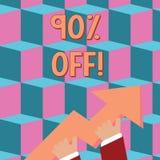 Scrittura concettuale della mano che mostra 90 per cento fuori Testo della foto di affari 90 per cento di riduzione sul prezzo or illustrazione di stock