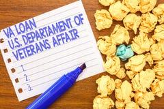Scrittura concettuale della mano che mostra prestito U di Va S Departament degli affari dei veterani Forze armate del testo della fotografia stock