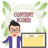 Scrittura concettuale della mano che mostra punteggio contento Foto di affari che montra preannunciatore aggregato per la competi illustrazione di stock
