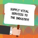 Scrittura concettuale della mano che mostra rifornimento Vital Services To The Industry Foto di affari che montra le alimentazion illustrazione vettoriale