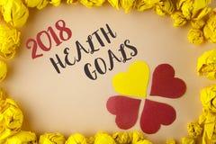 Scrittura concettuale della mano che mostra salute 2018 Golas Foto di affari che montra gli scopi sani w di risoluzione dell'alim Immagini Stock