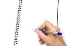 Scrittura del blocchetto per appunti Fotografie Stock
