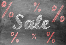 Scrittura del gesso di vendita con i segni di percentuale sulla lavagna Fotografia Stock Libera da Diritti