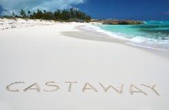 Scrittura del naufrago su una spiaggia del deserto Immagini Stock