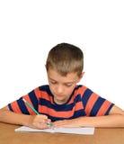 Scrittura del ragazzo nel taccuino Immagini Stock Libere da Diritti