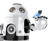 Scrittura del robot sullo schermo invisibile Isolato Contiene il percorso di ritaglio royalty illustrazione gratis