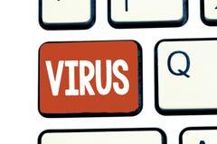 Scrittura del virus di rappresentazione della nota Foto di affari che montra agente infettivo che consiste molecola acida nucleic fotografie stock