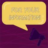Scrittura del For Your Information di rappresentazione della nota La foto di affari che montra le informazioni è divisa e che nes illustrazione di stock
