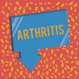 Scrittura dell'artrite di rappresentazione della nota Foto di affari che montra malattia che causa infiammazione e rigidezza dolo illustrazione vettoriale