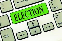 Scrittura dell'elezione di rappresentazione della nota Foto di affari che montra scelta convenzionale ed organizzata dal voto che fotografie stock