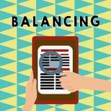 Scrittura dell'equilibratura di rappresentazione della nota Montrare della foto di affari ha posizionato qualcosa costante in mod immagini stock