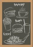 Scrittura dell'hamburger delle patate fritte dell'alimento Fotografie Stock Libere da Diritti