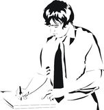 Scrittura dell'uomo d'affari sul documento Immagini Stock