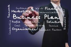 Scrittura dell'uomo d'affari sullo schermo Fattori di affari Immagini Stock