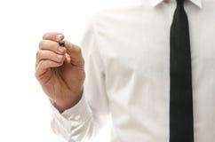 Scrittura dell'uomo d'affari sullo schermo virtuale Fotografie Stock
